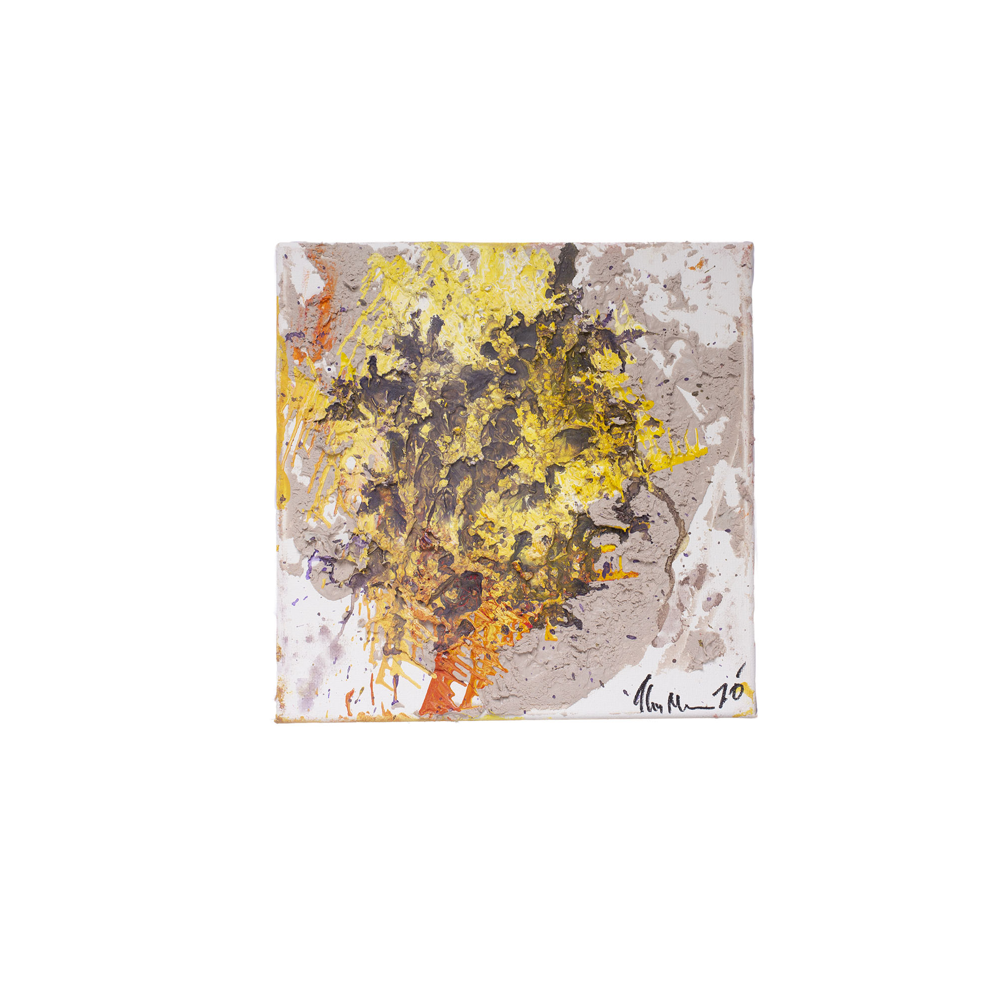 orange and yellow abstract art on canvas