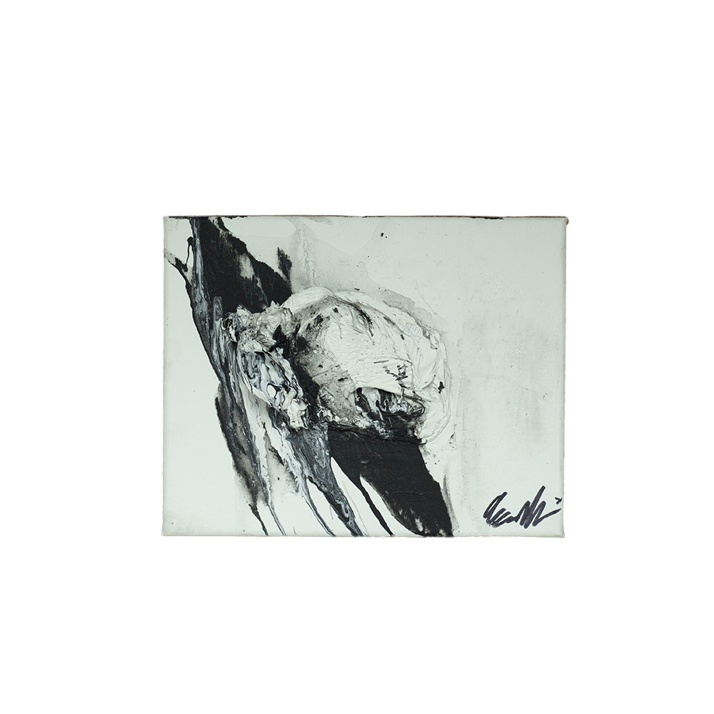 black and white abstract art on canvas
