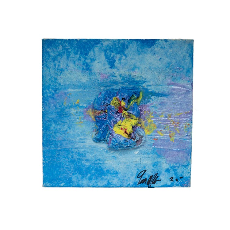 blue abstract art on canvas