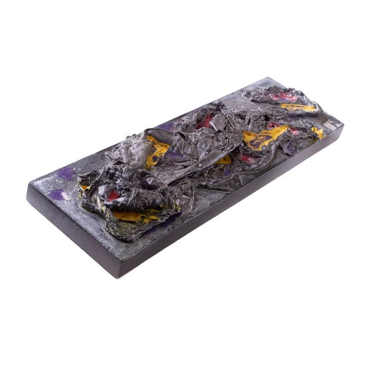 grey abstract art on wood